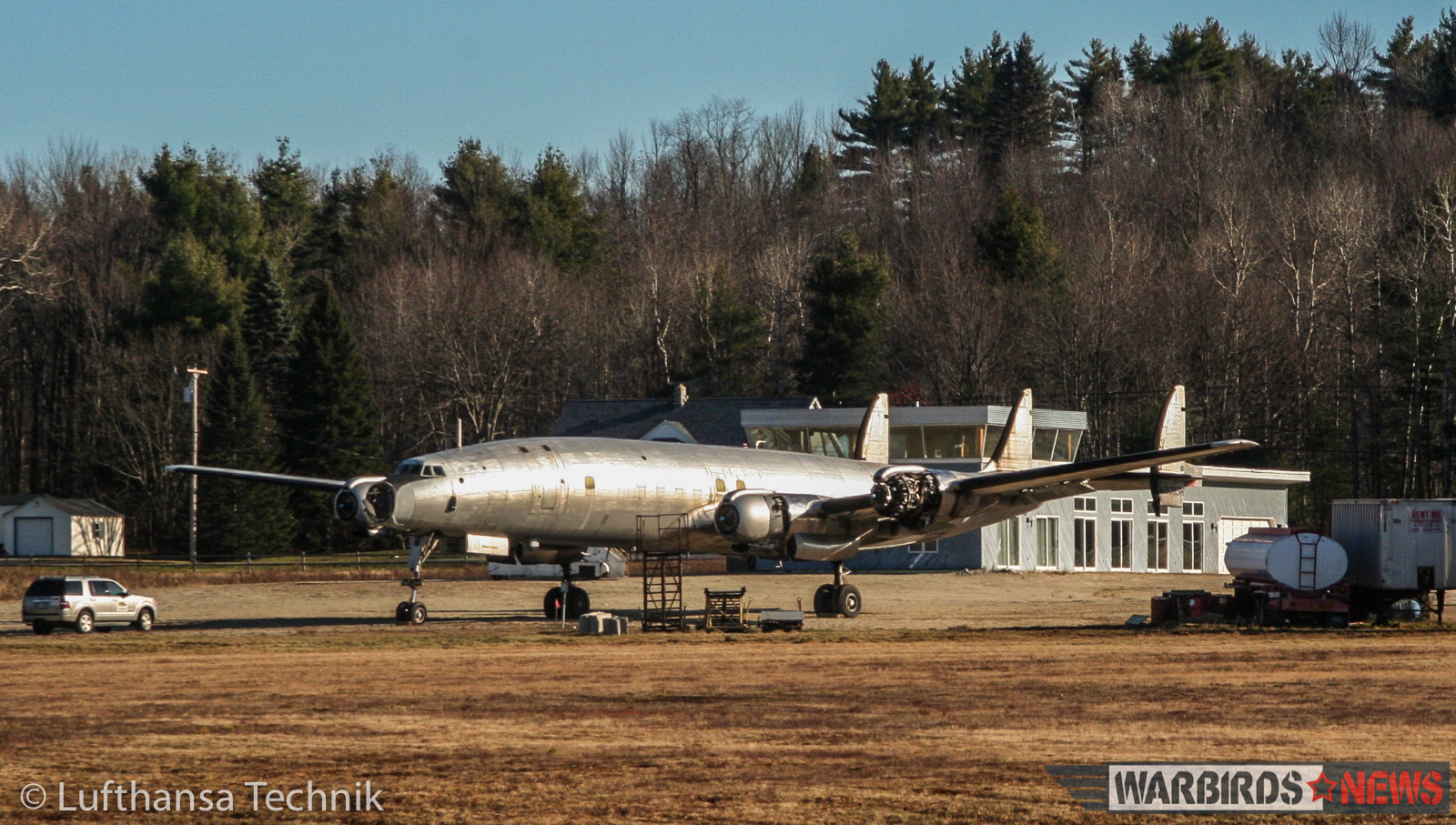 N7316C sitting on the boundary at Auburn-Lewiston Airport in Maine back in 2007 during the initial stages of her disassembly process. (© Lufthansa Technik)