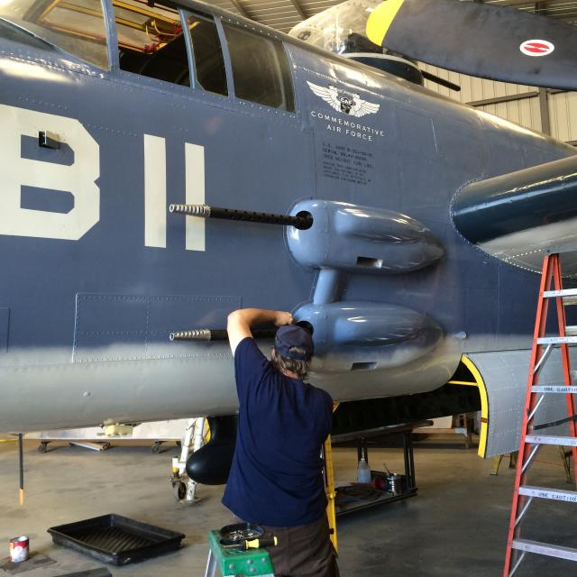 Installing the replica side armament. - Oct.2014 - Dan Newcomb photo