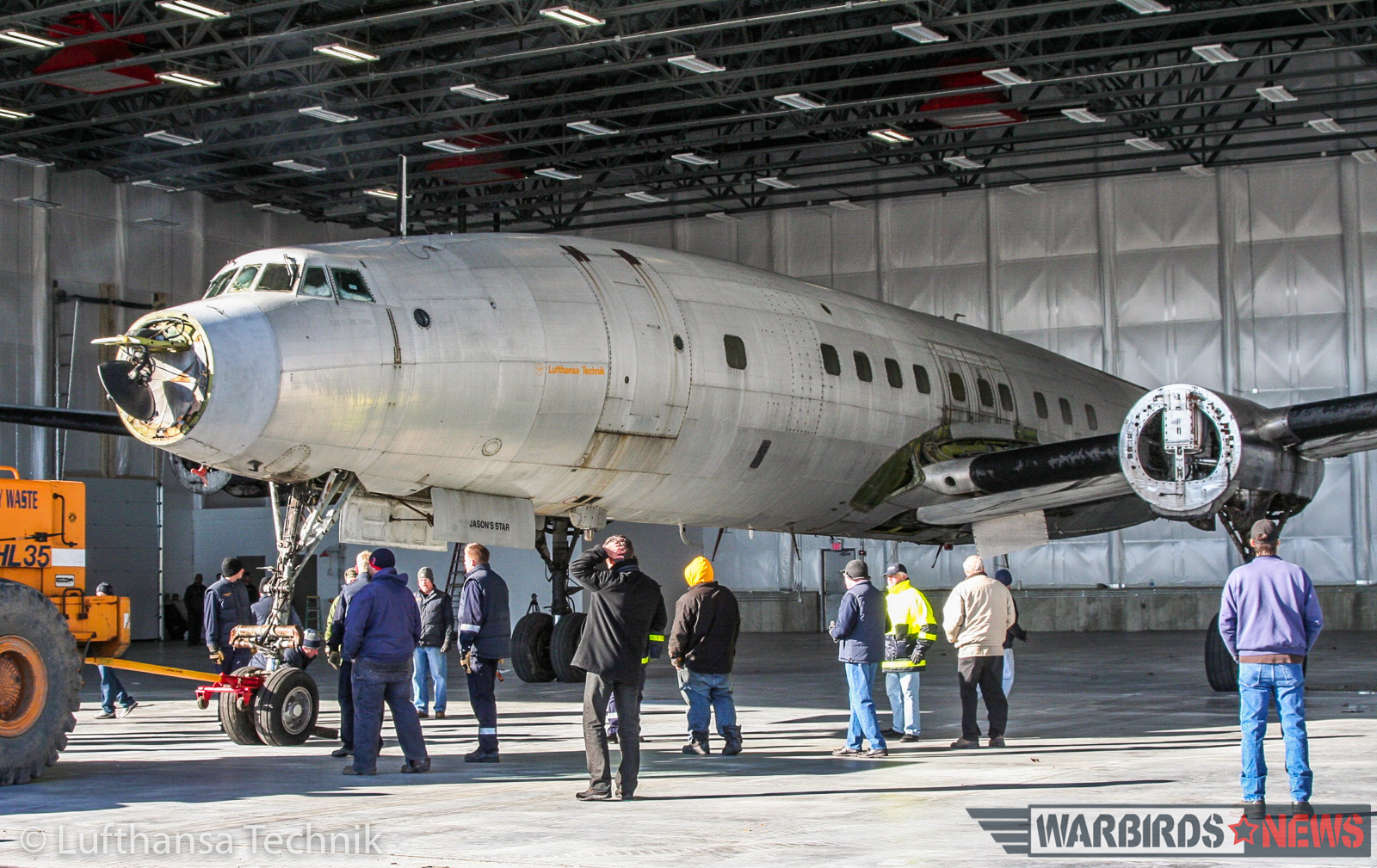Former Trans World Airlines L-1649 Starliner N7316C (c/n 1018) moving into the massive new hangar built to restore her at Auburn-Lewiston Airport in Maine back in late 2008. (© Lufthansa Technik)