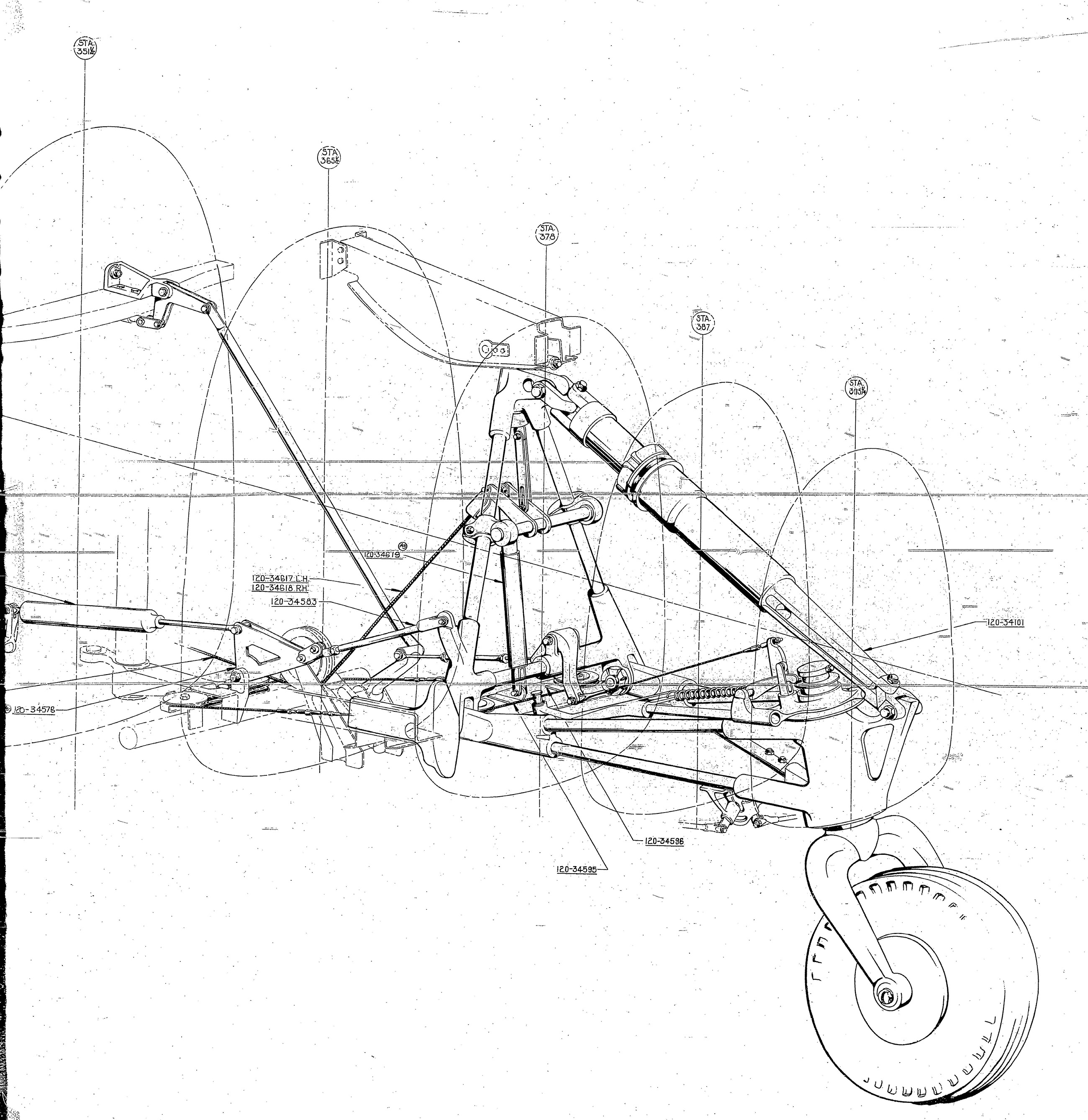 Drawing of the tail wheel mechanism. (photo via Tom  Reilly)