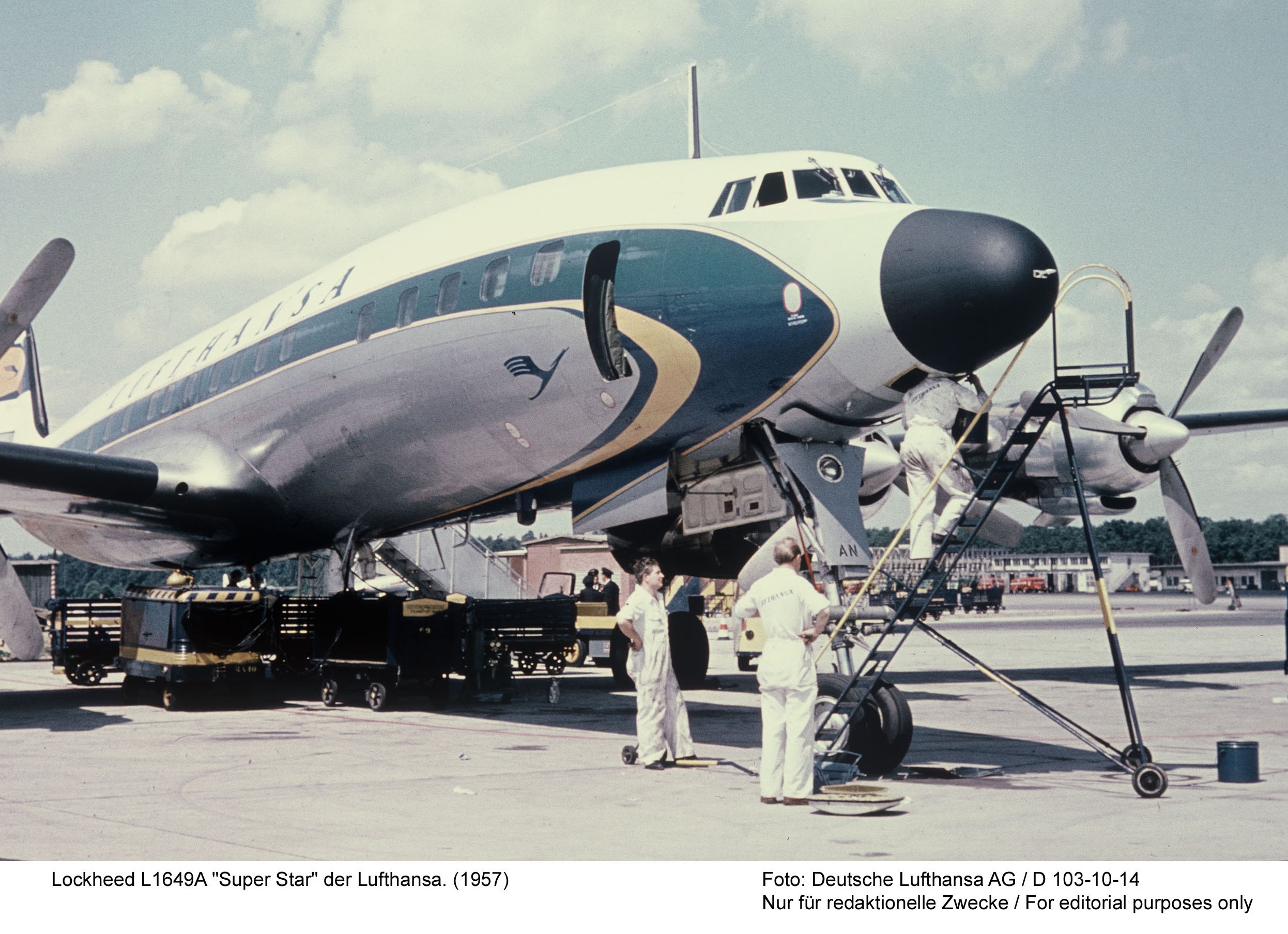 Lockheed L-1649A Super Star during the types introduction with Lufthansa in 1957. (photo via Wolfgang Bormann)
