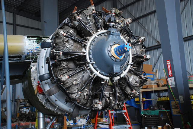 Test fitting the port engine (prior to its overhaul) - Jul.2011 - Dan Newcomb photo