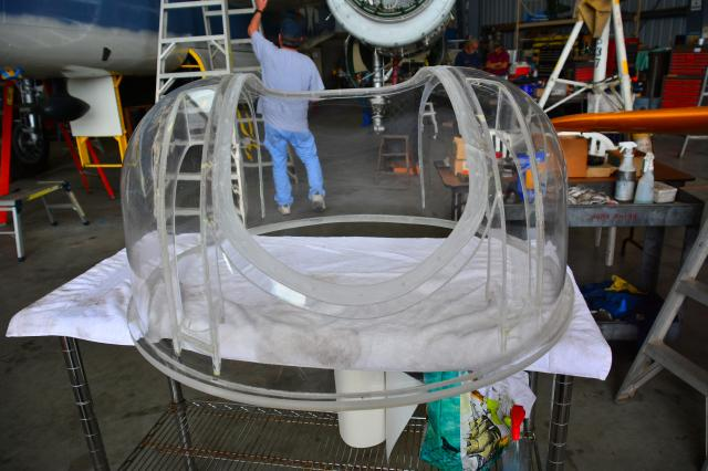 The hugely expensive brand new plexiglas dome for the mid-upper turret. - Aug.2014 - Dan Newcomb photo
