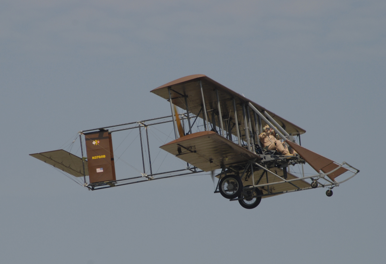 "Brown Bird with Wright ""B "" Flyer's 1916 Model T Staff Car on static display at 2014 Vectren Dayton Air Sh ow."