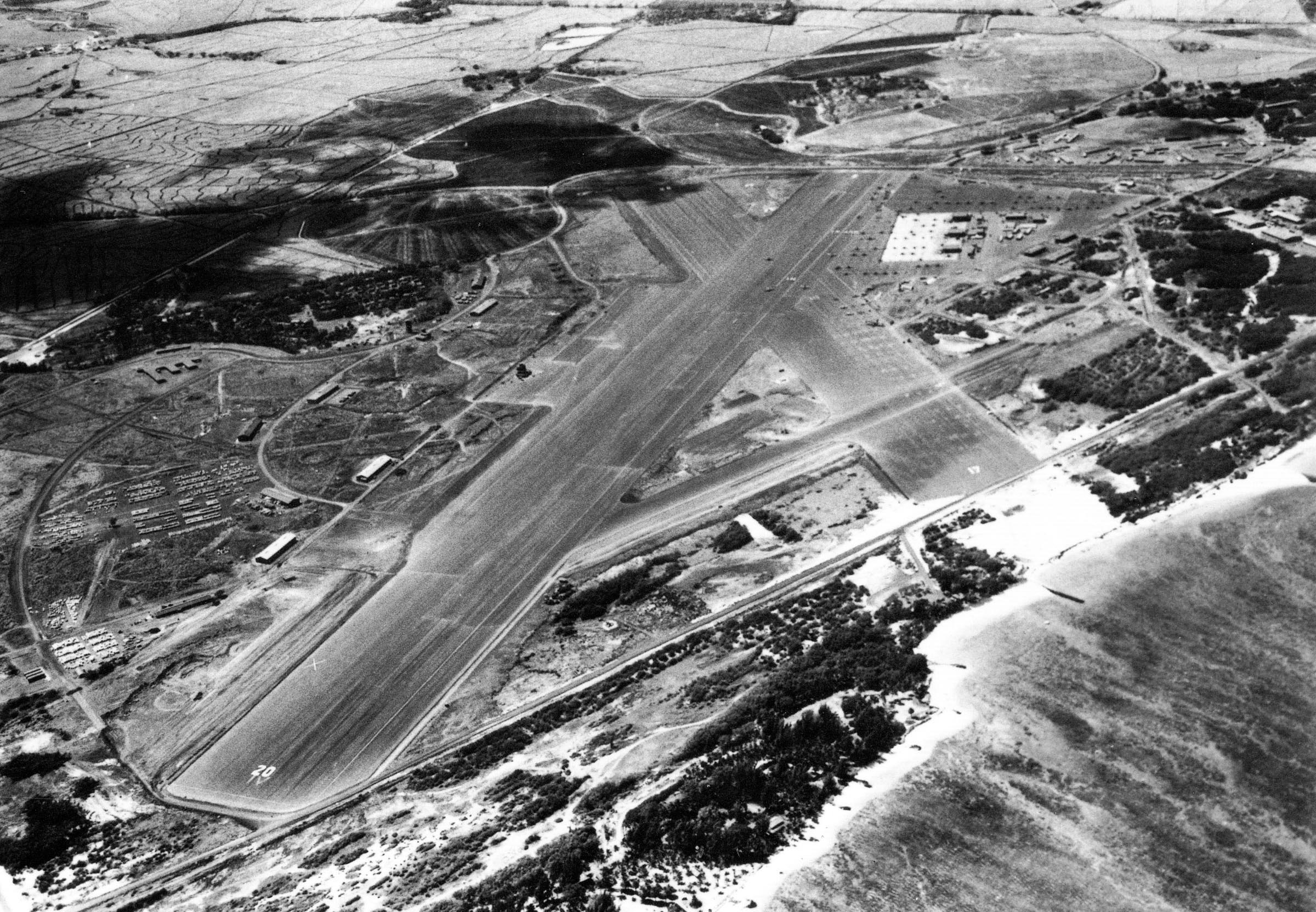 An aerial view of NAS Kahului during WWII. [Photo Credit: National Archives]