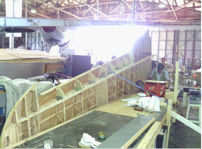 Another view of the left wing under construction. (photo via B-24 Liberator Memorial Fund)
