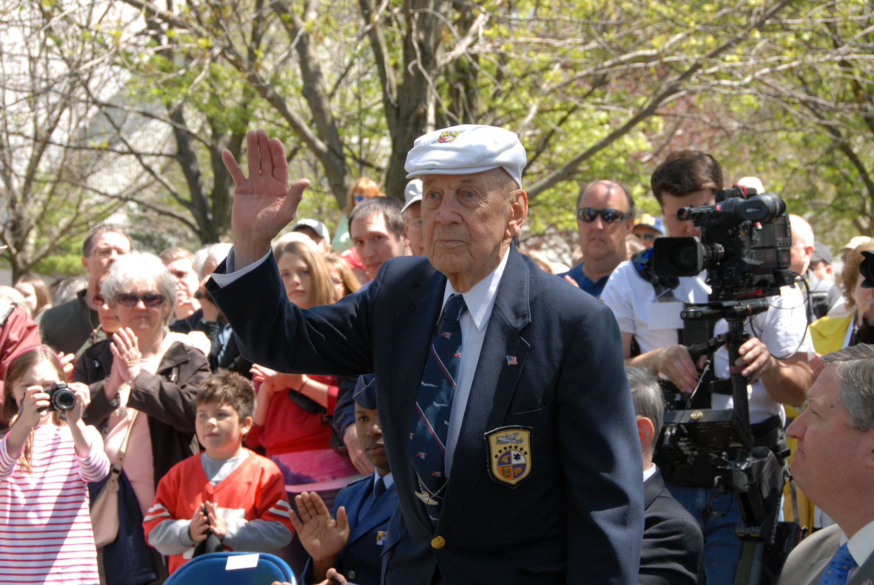"Lt. Col. Richard ""Dick"" E. Cole, who served as Jimmy Doolittle's co-pilot on Crew No. 1. Cole, now 101 years old, plans to return to the National Museum of the U.S. Air Force in April to commemorate the 75th anniversary of the raid. (U.S. Air Force photo by Jeff Fisher)"