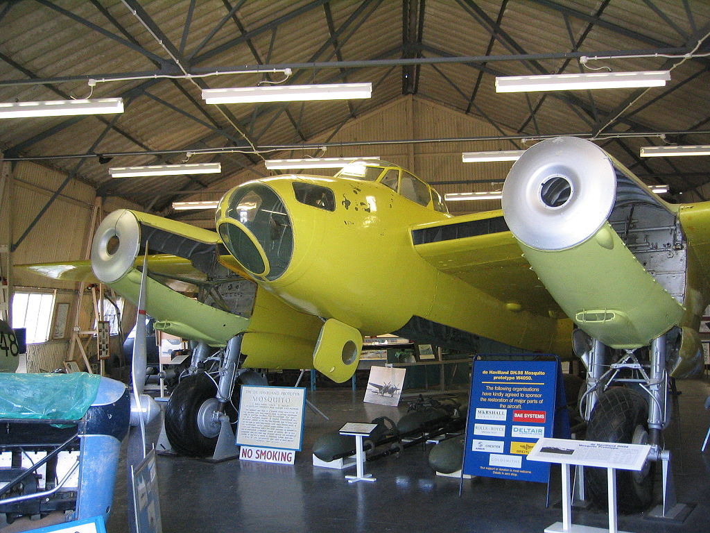 W4050 during the earlier stages of her restoration at the deHavilland Aircraft Museum. (photo via Wikipedia)