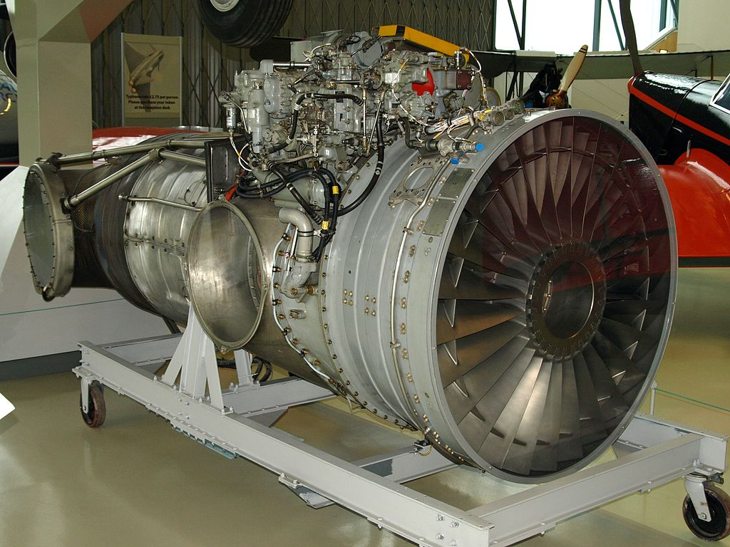 An example of the Rolls-Royce Pegasus engine at RAF Museum Hendon. There are two exhaust ports on either side, visible in this image, which connect to the variable-position nozzles that direct the thrust. (photo via Wikipedia)