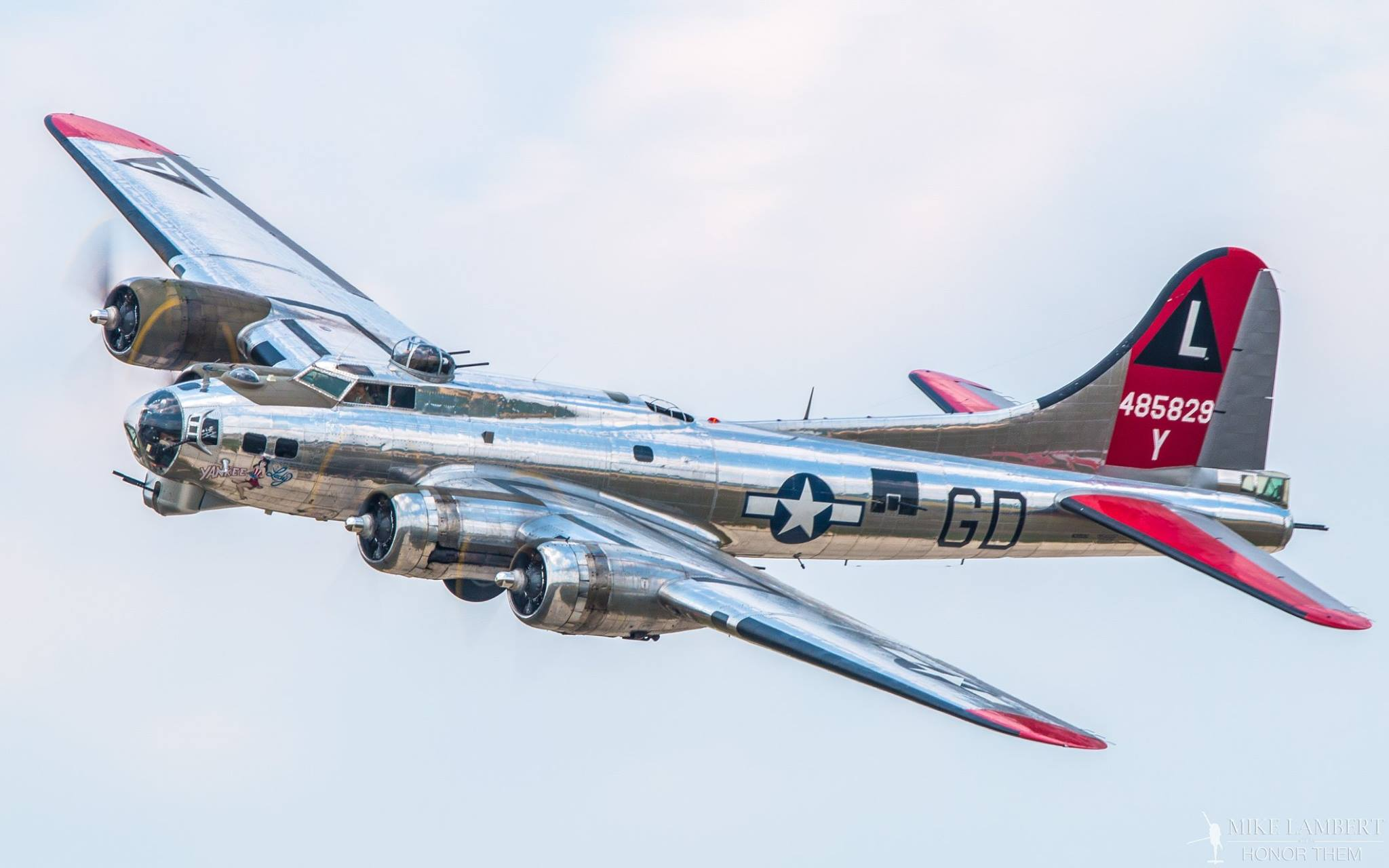 "Yankee Air Museum's B-17G ""Yankee Lady"" during a pass at Thunder Over Michigan 2014. (Photo by Mike Lambert)"