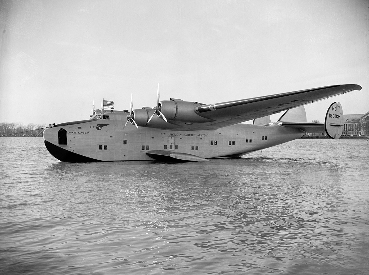 The Pan American World Airways Boeing 314 Yankee Clipper (serial NC18603), circa 1939. This aircraft started the Transatlantic mail service. It crashed in Lisbon, Portugal, on 22 February 1943 and was written off. (photo via Wikipedia)