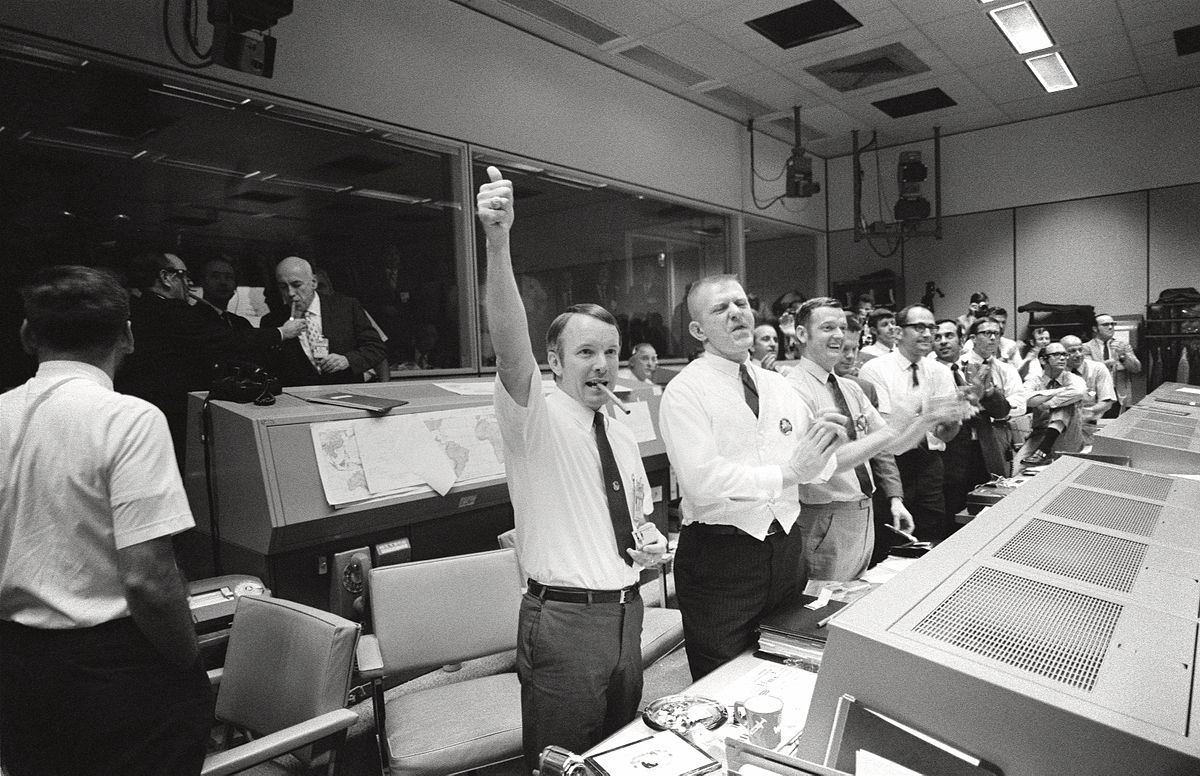 Mission Control celebrates the successful splashdown of Apollo 13.