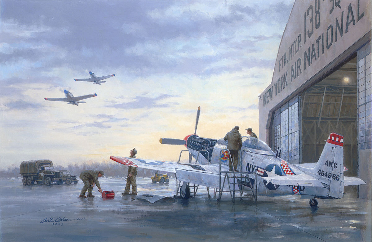F-51H Mustang fighters from the 136th Fighter Squadron, 107th Fighter Group, New York Air National Guard, on alert, 1953 (Gil Cohen, Runway Alert, National Guard Heritage Painting.)