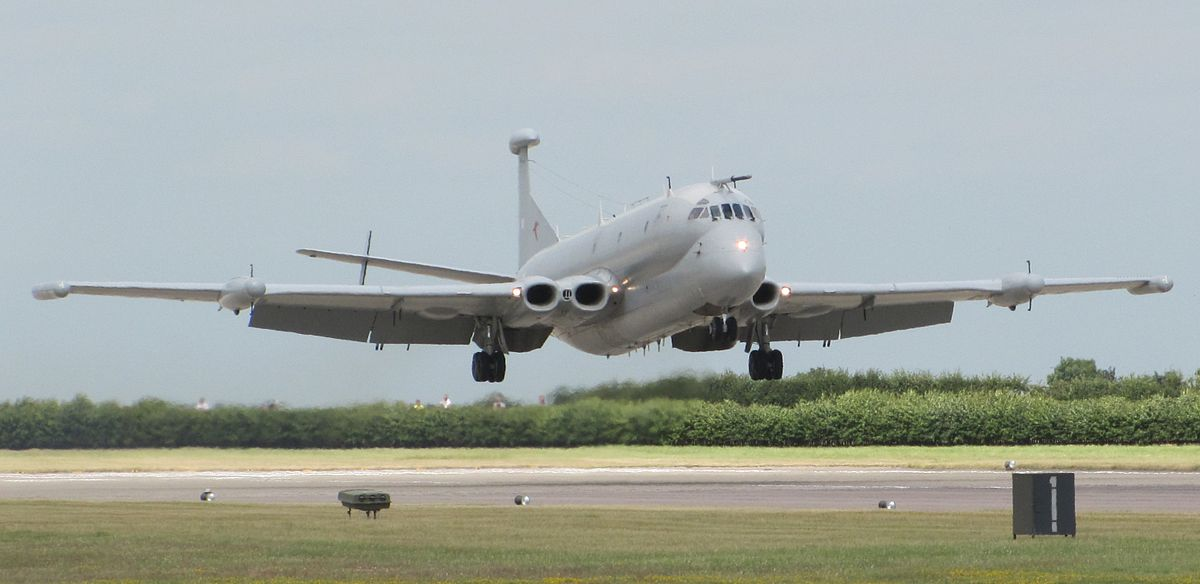 One of the three Nimrod R1s which served in the RAF coming in to land at RAF Waddington in 2010. (photo by Dan Davison via Wikipedia)
