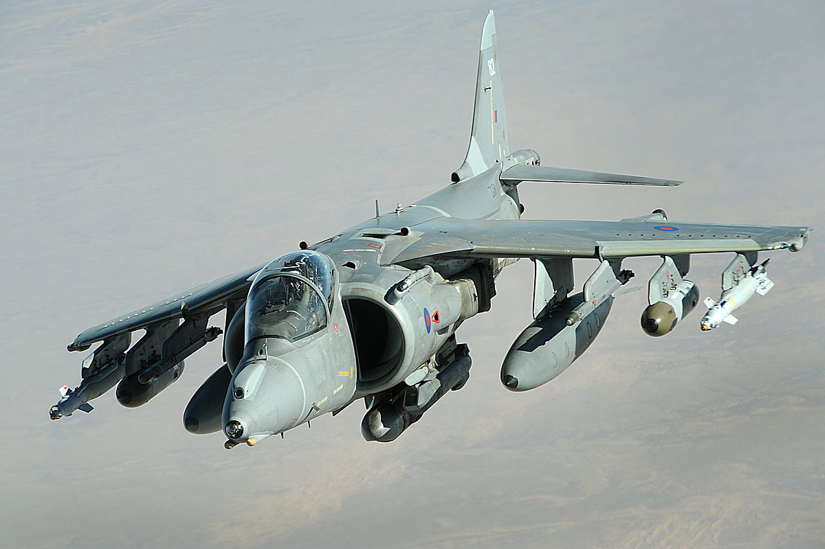 A Royal Air Force Harrier II over Afghanistan in 2008. (photo via Wikipedia)