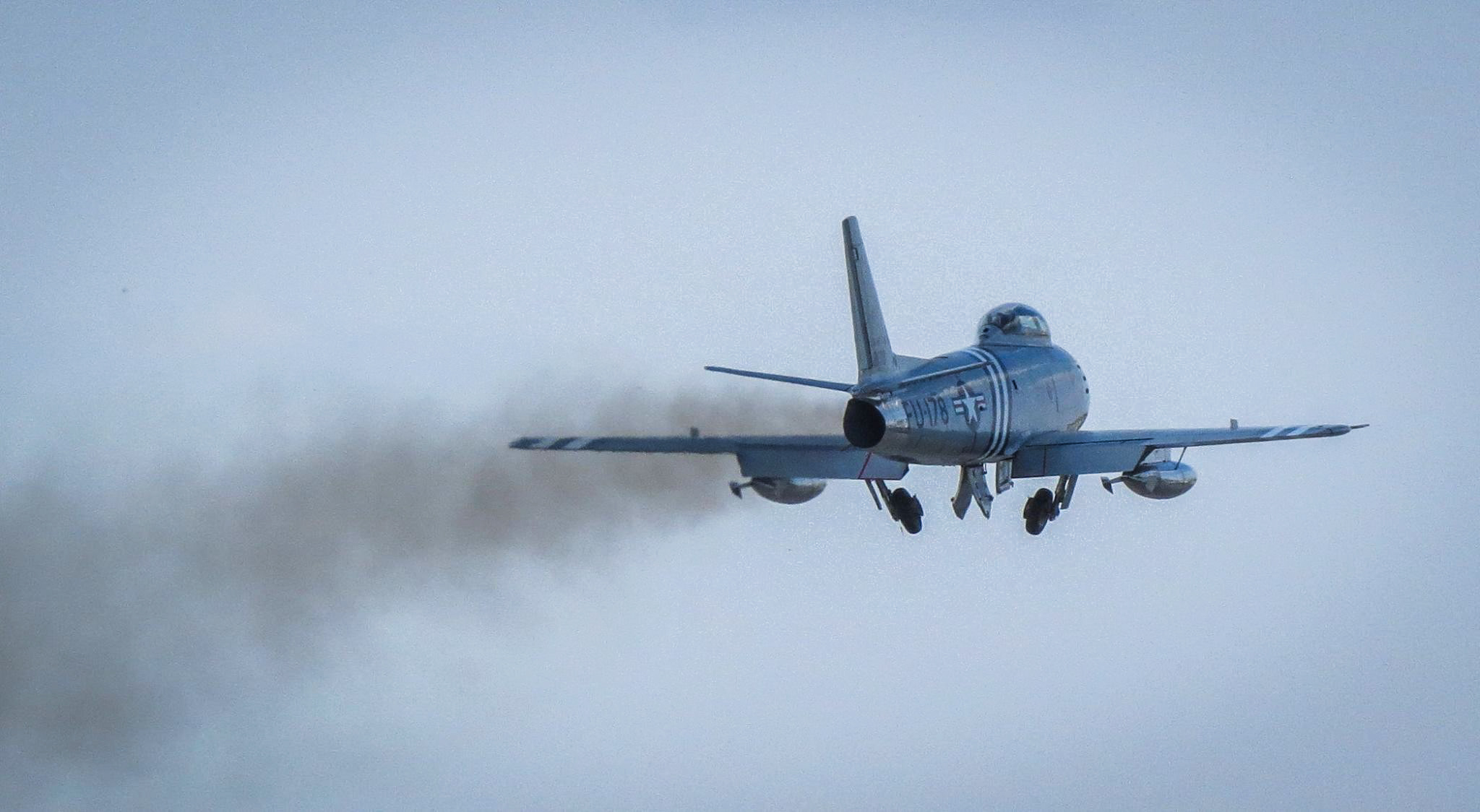 F-86A 48-0178 takes off for the first time since arriving home in the USA. (photo by David Charles Lindberg)
