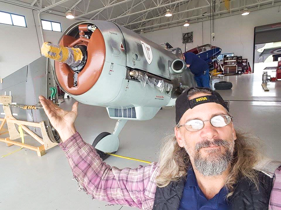 MAM chief mechanic, Thomas Kurtz with his new charge at the Military Aviation Museum. (photo by Thomas Kurtz)