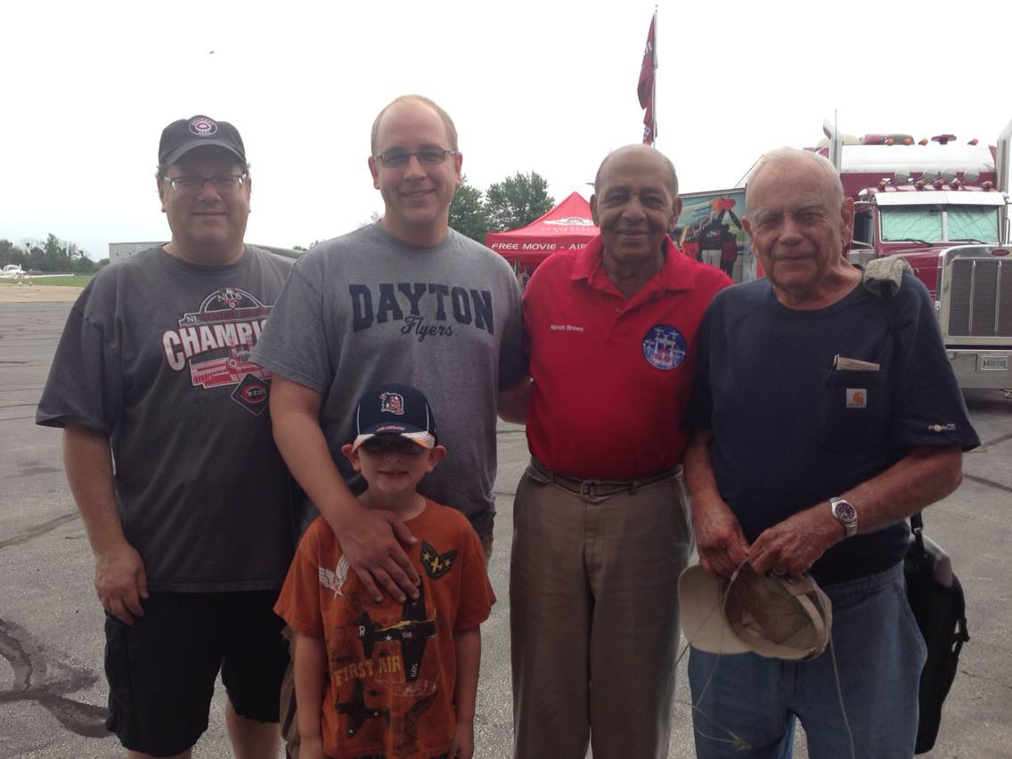 Tuskegee Airman Dr. Harold Brown will be at Wings & Warbirds Over Port Clinton, and is sure to offer fascinating insight into his WWII experiences. Here he is shown with John Lambert, Timothy Brunner, Warbirds News staff writer Mike Lambert, and his son Tyler. (photo via Mike Lambert)