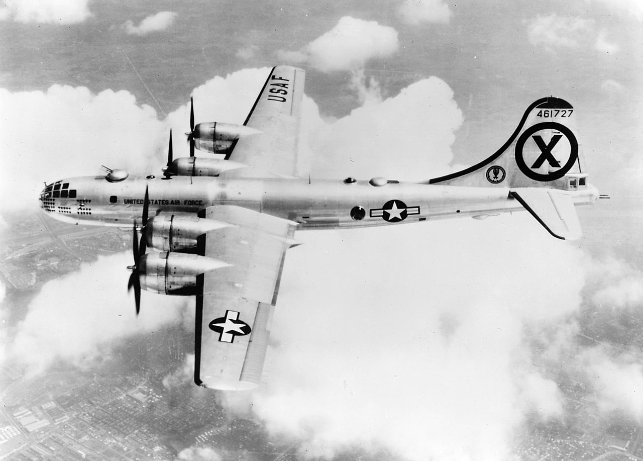 A U.S. Air Force Boeing RB-29A Superfortress (s/n 44-61727) from the 91st Strategic Reconnaissance Squadron over Korea.(Image via Wikipedia)