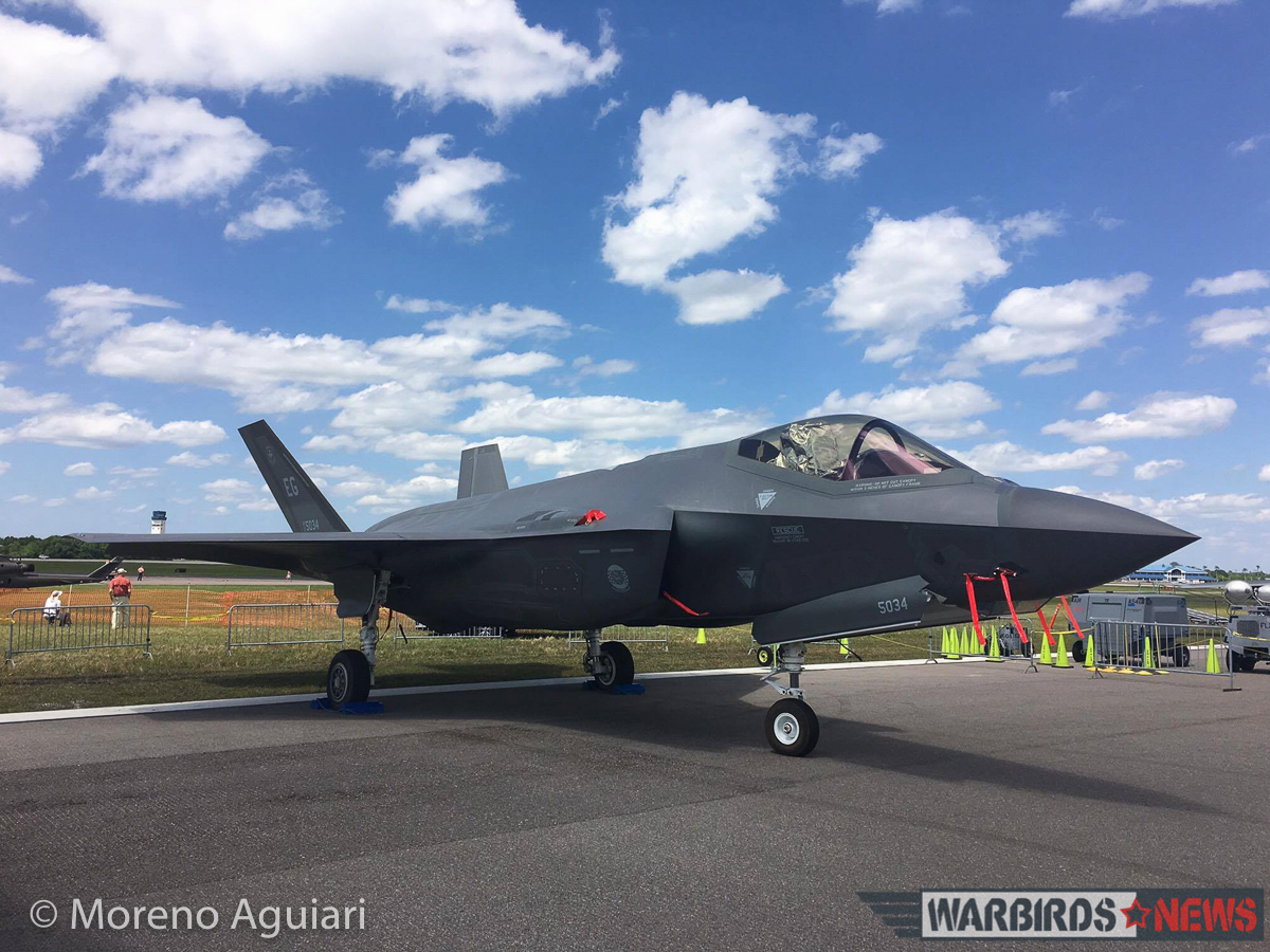 A USAF F-35A on the ramp at Sun 'n Fun 2016. The aircraft was one of several Lightning II variants on hand. (photo by Moreno Aguiari)