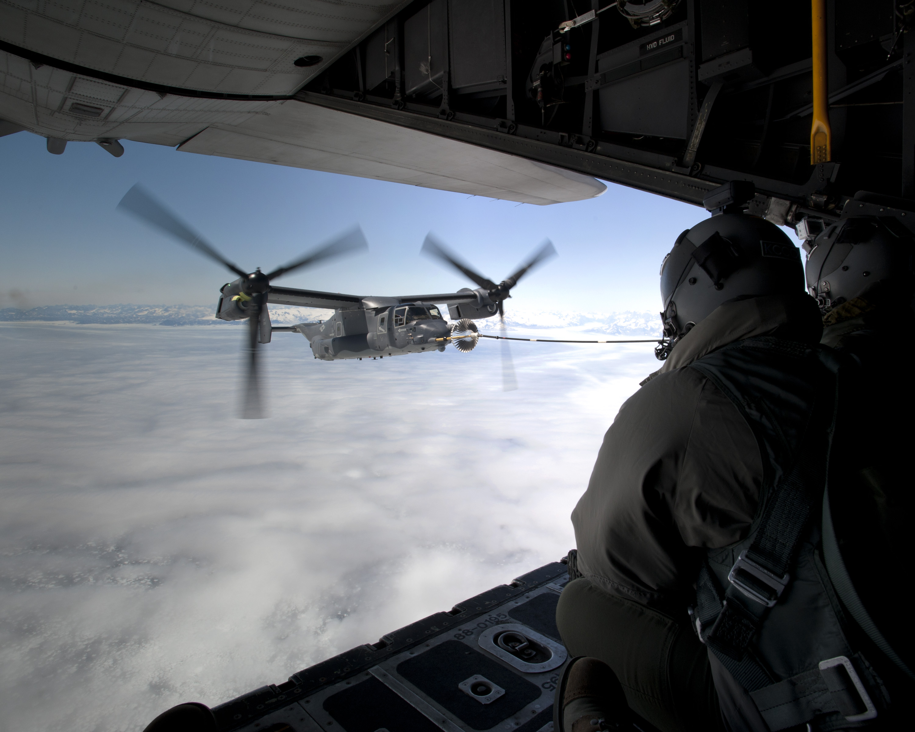 A 352nd Special Operations Group CV-22 refueling from one of the squadrons MC-130s. (USAF photo)