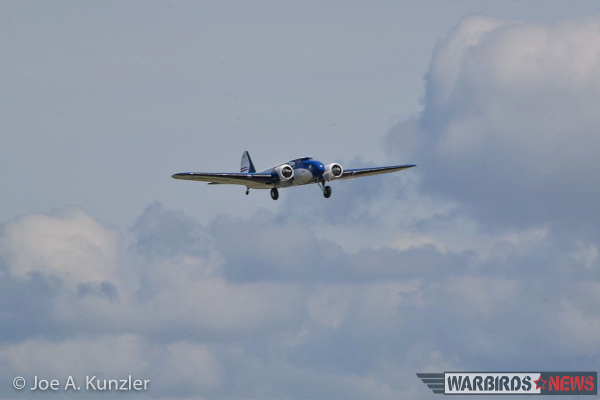 The Boeing 247D took off under partly cloudy skies shortly before noon local time. (photo by Joe A. Kunzler)