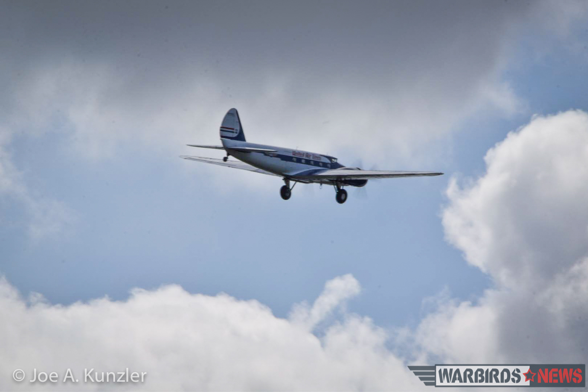 The Boeing 247D as she departs the area on her way to Boeing Field in Seattle. (photo by Joe A. Kunzler)