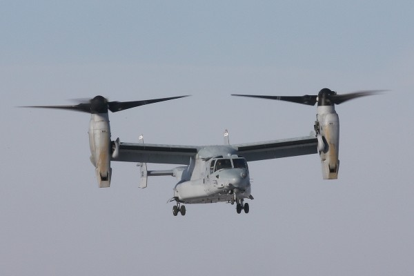 The Bell-Boeing CV-22B Osprey landed at the National Museum of the U.S. Air Force on Dec. 12, 2013. (U.S. Air Force photo by Don Popp)