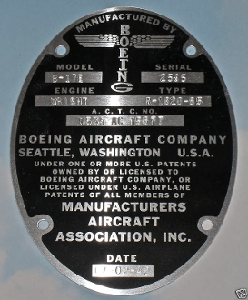 "Reproduction Oval Data Plate Stamped ""B-17E, Serial No. 2595, Wright Cyclone R1820-85"