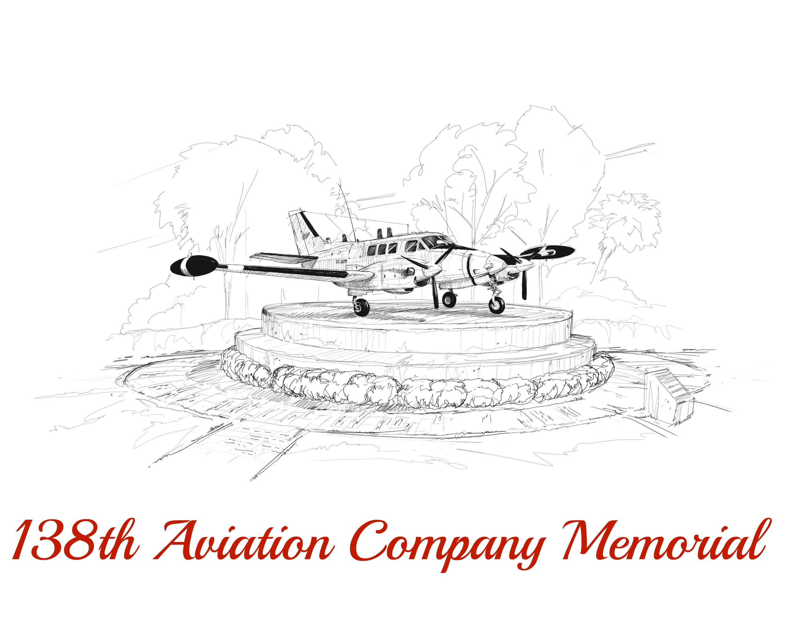This is the how the memorial should look like once completed. The current plan is to build the memorial next to the B-52  and F-4 on display in a park at the Orlando International Airport.
