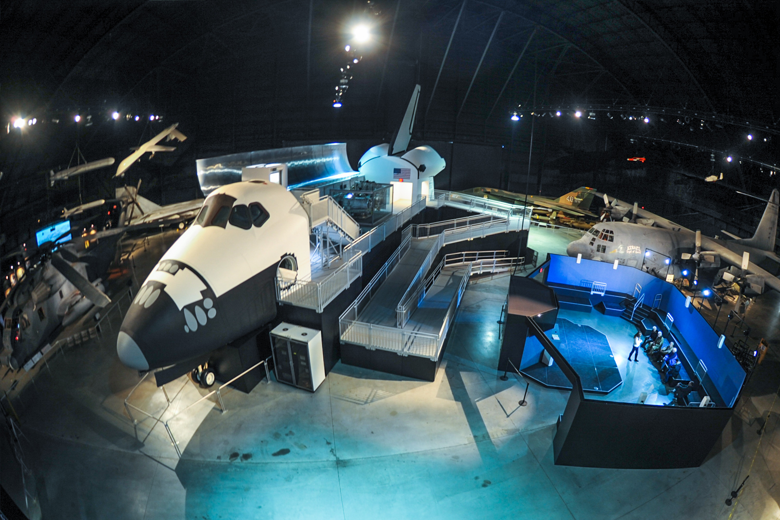 The Space Shuttle trainer and STEM exhibit as they currently exist at the National Museum of the US Air Force. The entire display will be moving into the new fourth hangar in the coming months. (photo via NMUSAF)