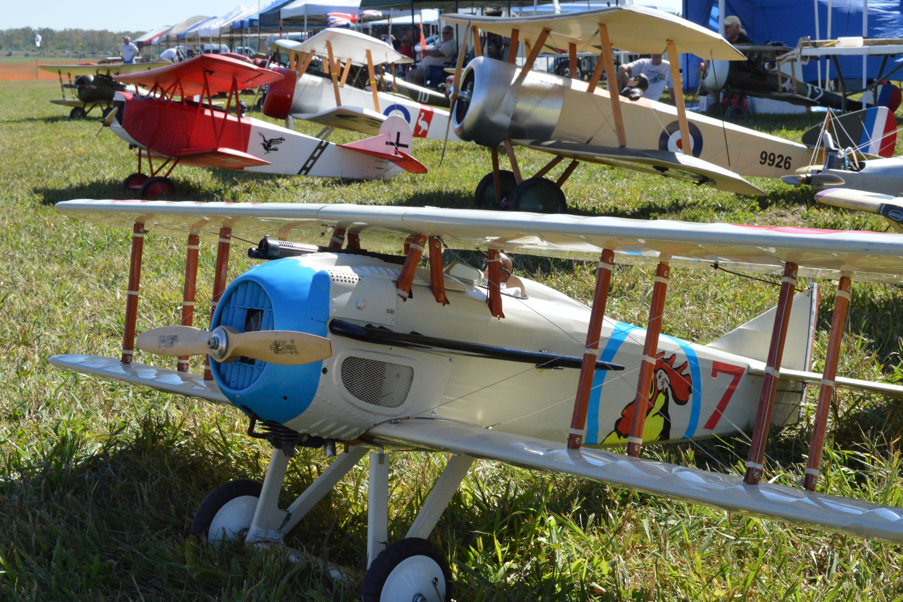 WWI-era radio-controlled model aircraft, some as large as 1/2-scale, will perform during the WWI Dawn Patrol Rendezvous, Oct. 1-2, 2016, at the National Museum of the U.S. Air Force. (U.S. Air Force photo)