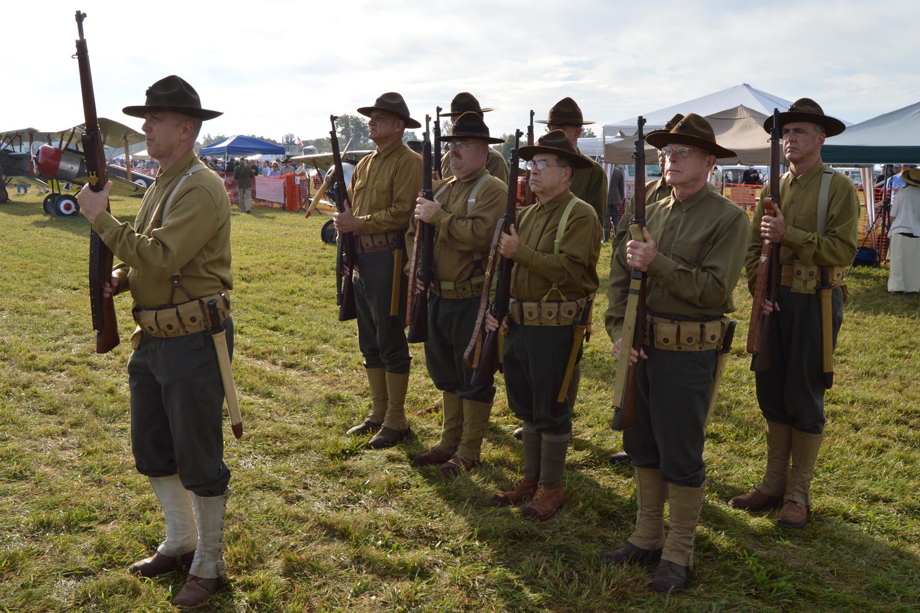 Re-enactors will perform skits in a war encampment during the WWI Dawn Patrol Rendezvous, Oct. 1-2, 2016, at the National Museum of the U.S. Air Force. (U.S. Air Force photo)