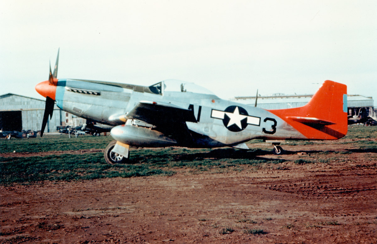A 332nd FTR P-51 Mustang flown by the Tuskegee Airmen for bomber support over western Europe in World War II.