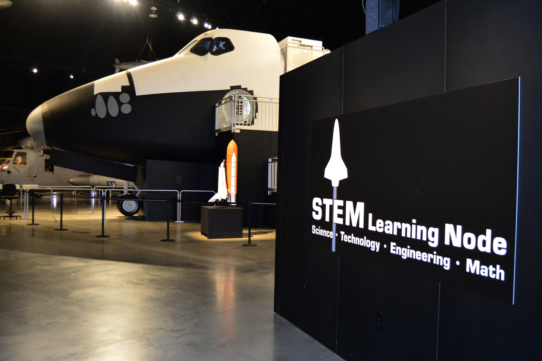 A general view of the STEM Learning Node, which is adjacent to the space shuttle exhibit in the Cold War Gallery at the National Museum of the U.S. Air Force. (U.S. Air Force photo)