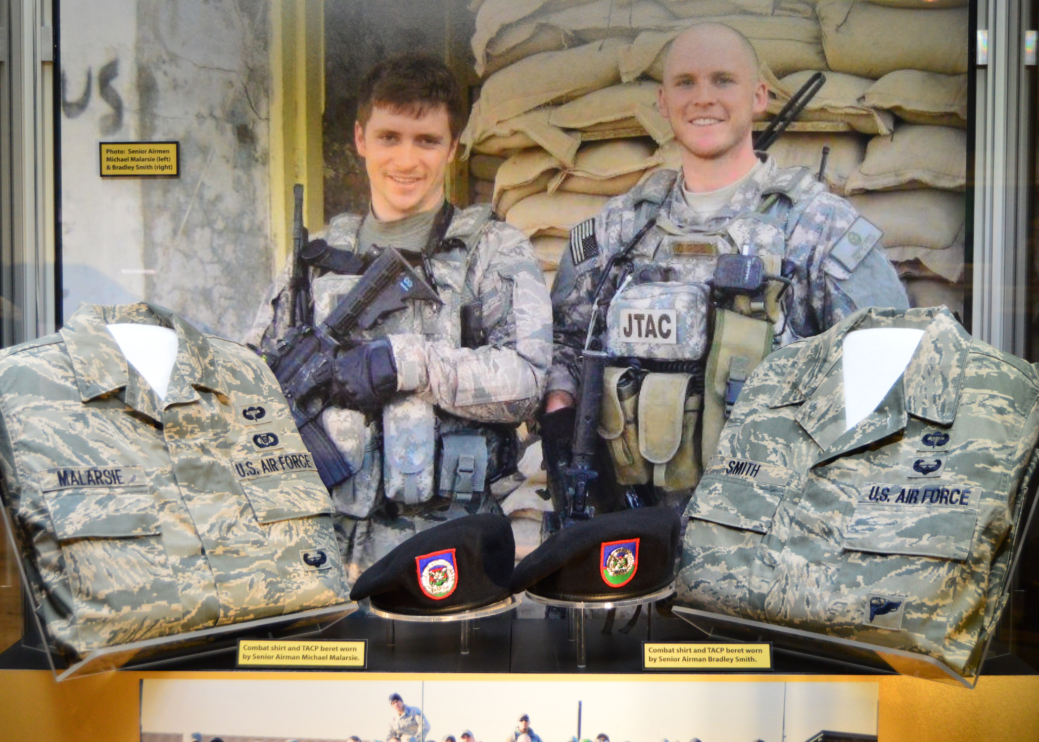 "The ""Duty First, Always Ready"" exhibit, located in the Cold War Gallery at the National Museum of the U.S. Air Force, highlights the service of Senior Airmen Michael Malarsie and Bradley Smith, a two-man Joint Terminal Attack Controller (JTAC) who deployed together to Afghanistan in December 2009. (U.S. Air Force photo)"