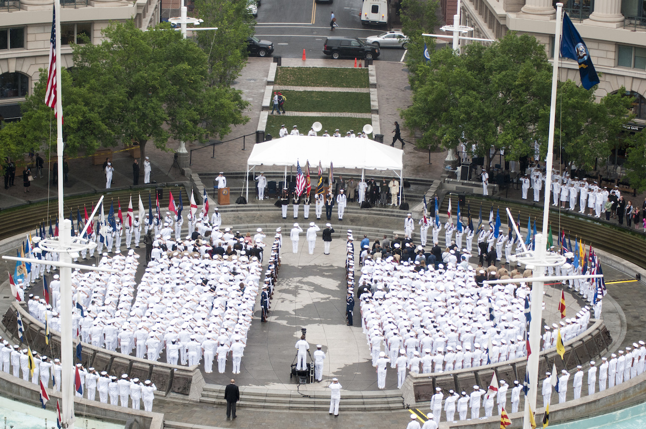WASHINGTON (June 4, 2015) A sea of white uniforms greets visitors to the Navy Memorial in Washington, D.C as Sailors pause to celebrate the 73rd anniversary of the Battle of Midway. The celebration held host to Marines, Navy, and Coast Guard service members, Midway veterans and a crowd of onlookers. The Battle of Midway is considered by many to be the turning point of World War II in the Pacific theater and one of the most well-known and revered victories in U.S. naval history. (U.S. Navy photo by Mass Communication Specialist 2nd Class Eric Lockwood/Released)