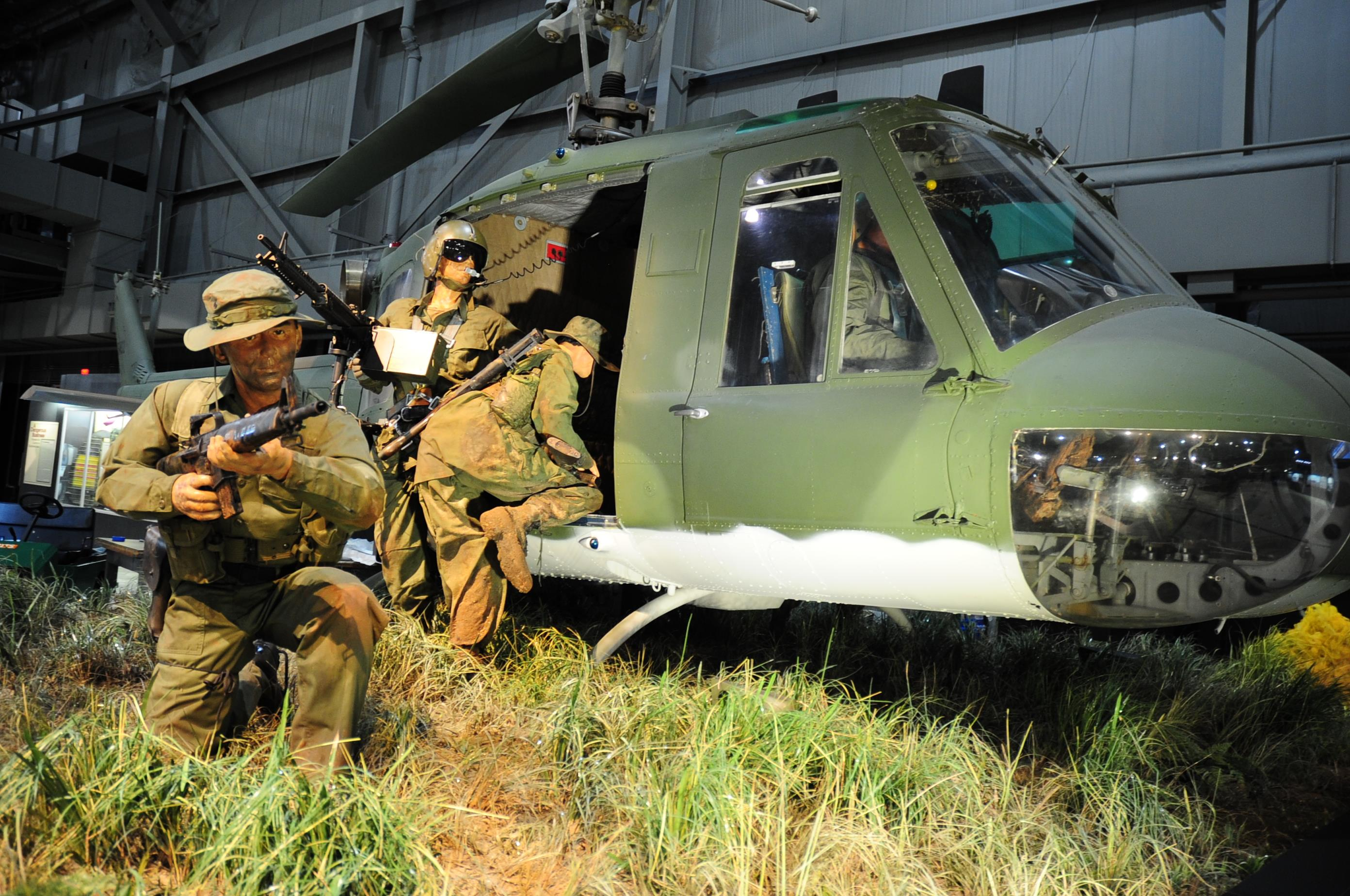 Bell UH-1P Iroquois exhibit on display in the Southeast Asia War Gallery at the National Museum of the United States Air Force. (U.S. Air Force photo)