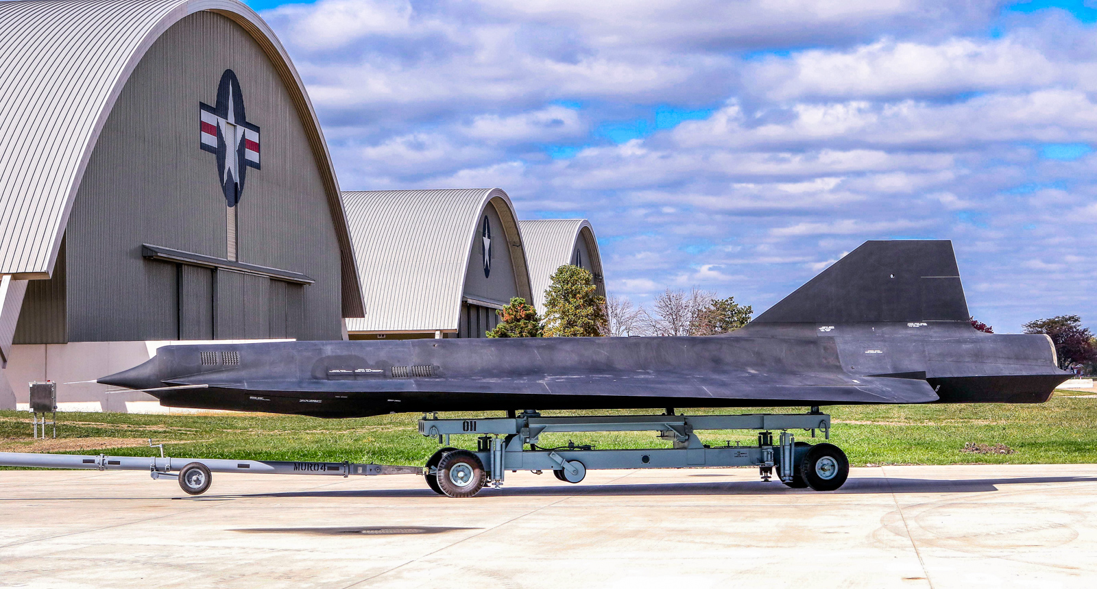 Lockheed D-21B drone being moved into the new fourth building at the National Museum of the U.S. Air Force on Oct. 13, 2015. The D-21 was designed to mount on top of the M-21 mother ship, a close relative of the SR-71 Blackbird, and fly into hostile airspace to perform a similar mission to the SR-71, but with less inherent risks to a human pilot. (U.S. Air Force photo by Don Popp)