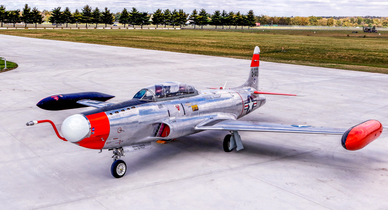 Lockheed NT-33A Shooting Star 51-4120 trials aircraft on Oct. 13, 2015. Modified with the nose from a Lockheed F-94 Starfire, this airframe was at one time the oldest active aircraft in the US inventory when it finally retired in 1997. (U.S. Air Force photo by Don Popp)