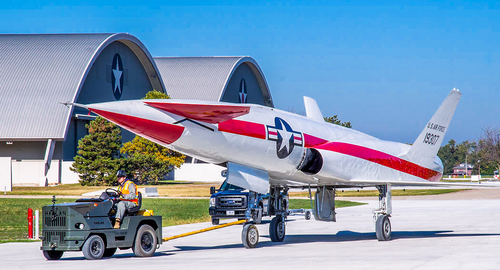 The sole surviving North American X-10 of five built on its journey to the new fourth building at the National Museum of the U.S. Air Force on Oct. 14, 2015. (U.S. Air Force photo by Ken LaRock)
