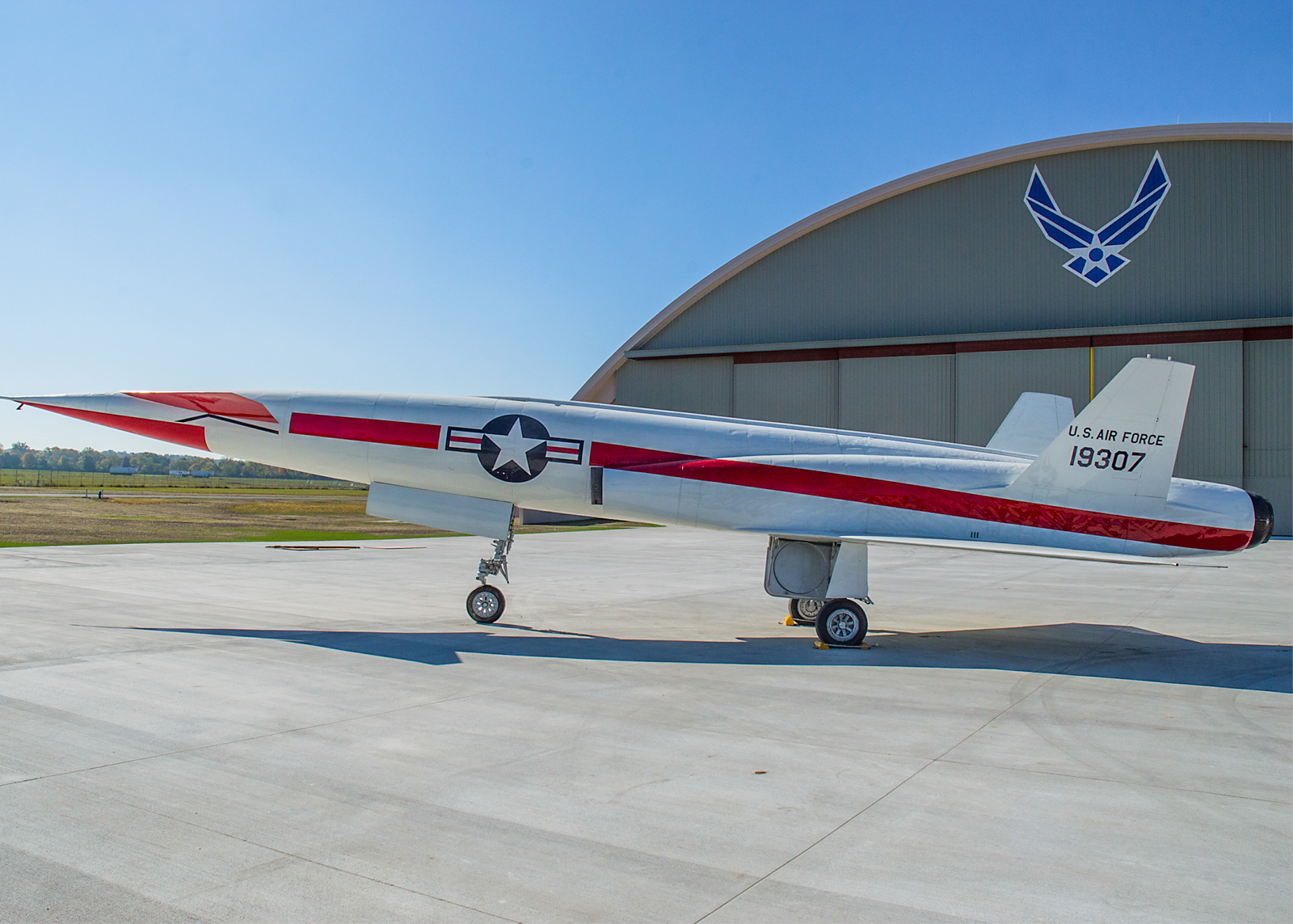 The North American X-10 posed in front of its new home at the National Museum of the U.S. Air Force on Oct. 14, 2015. (U.S. Air Force photo by Ken LaRock)