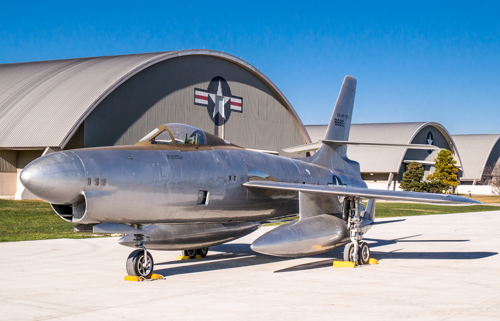The Republic XF-91 Thunderceptor was a heavily modified development of the F-84 Thunderjet program, but never went into production. (U.S. Air Force photo by Ken LaRock)
