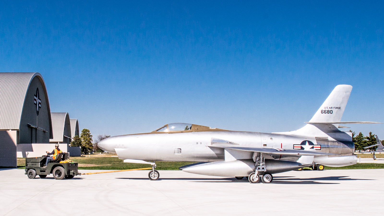 Restoration staff move the Republic XF-91 Thunderceptor into the new fourth building at the National Museum of the U.S. Air Force on Oct. 8, 2015. (U.S. Air Force photo by Ken LaRock)