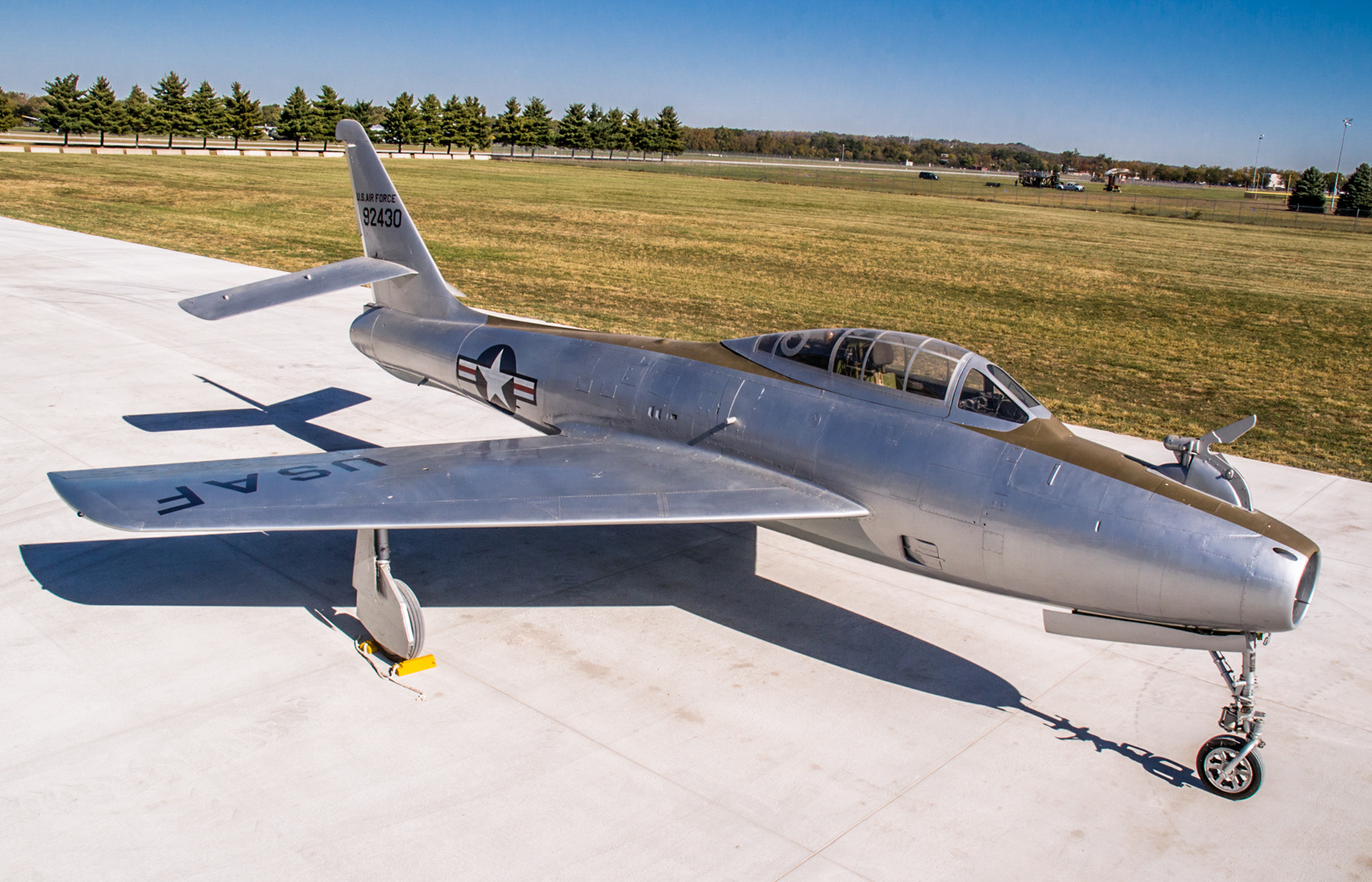 Restoration staff move the Republic YRF-84F Thunderflash FICON prototype into the new fourth building at the National Museum of the U.S. Air Force on Oct. 8, 2015. (U.S. Air Force photo by Ken LaRock)