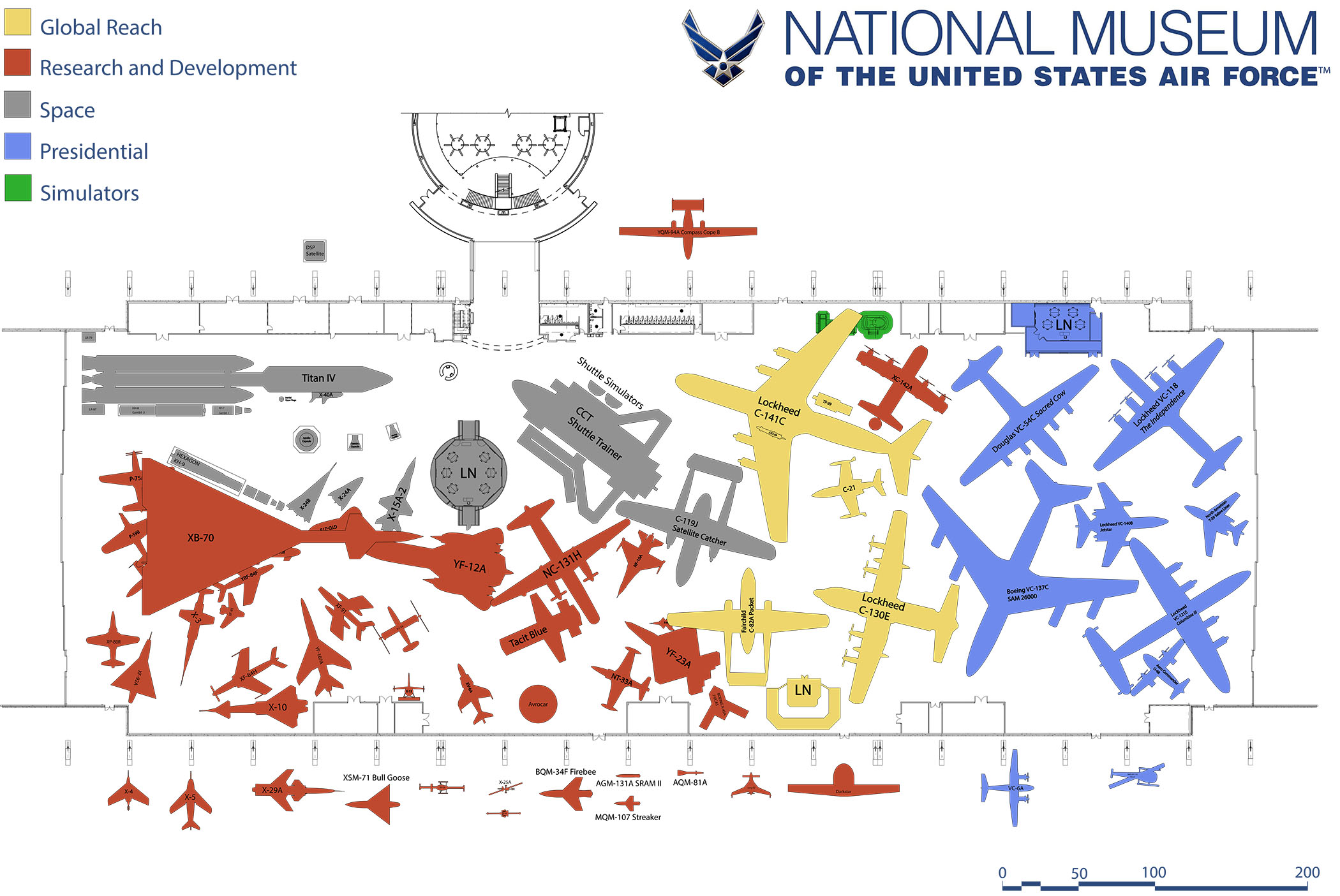 This is the proposed layout for the new fourth building at the Dayton, Ohio museum. The aircraft shown in red represent the Research & Development aircraft collection. It is mostly these airframes which were involved in the recent moves. (image via US Air Force Museum)