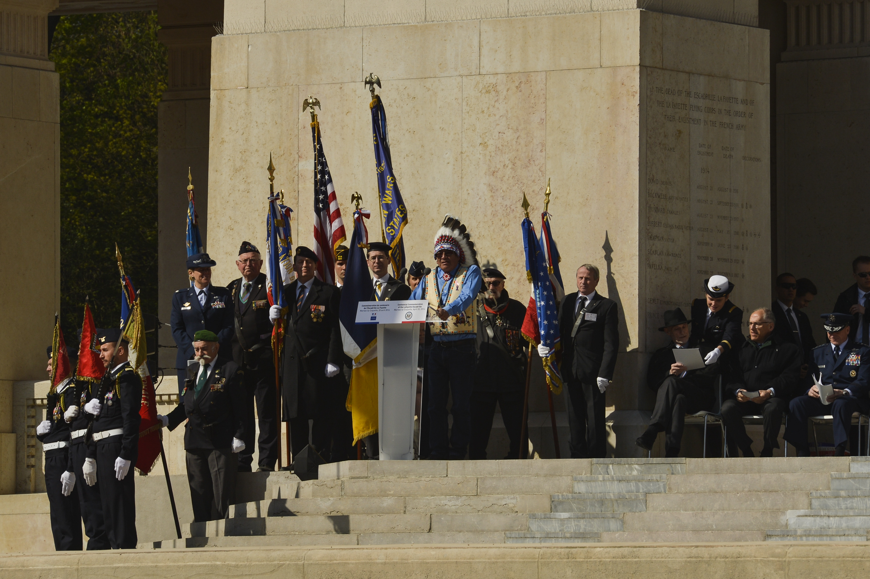 John Yellow Bird Steele, representing the Sioux Nation, offers a traditional Native American incantation during the Lafayette Escadrille Memorial 100th anniversary ceremony in Marnes-la-Coquette, France, April 20, 2016. More than 200 Americans flew with France in the Lafayette Flying Corps prior to U.S. entry into World War I. Airmen from the U.S. Air Force and their French counterparts, along with civilians from both countries attended the ceremony to honor the men who served and the sacrifices of the 68 American airmen who died fighting with the French in World War I. The memorial highlights the 238-year alliance between the U.S. and France with their long history of shared values and sacrifice. (U.S. Air Force Photo by Tech. Sgt. Joshua DeMotts/Released)