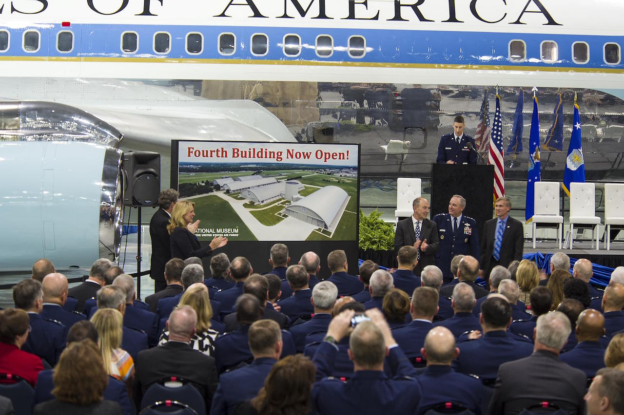 The fourth building grand opening ceremony for the new 224,000 square foot building was held on June 7, 2016 at the National Museum of the U.S. Air Force. (From left to right) Congressman Mike Turner, Secretary of the Air Force Deborah Lee James, Air Force Museum Foundation, Inc. Chairman, Board of Trustees, Philip L. Soucy, Chief of Staff of the U.S. Air Force Gen. Mark A. Welsh III, and the Director of the National Museum of the U.S. Air Force, Lt. Gen.(Ret.) Jack Hudson. (U.S Air Force photo by Ken LaRock)