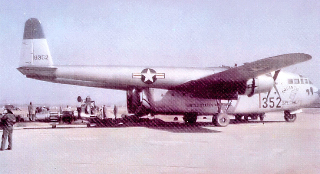 An early photo of the 314th Troop Carrier Group's Fairchild C-119B Flying Boxcar #48-352 operating from a base in South Korea in 1953. This is the exact C-119 that is being transported to the Air Mobility Command Museum at Dover Air Force Base, Del., for restoration and display. (Courtesy photo)