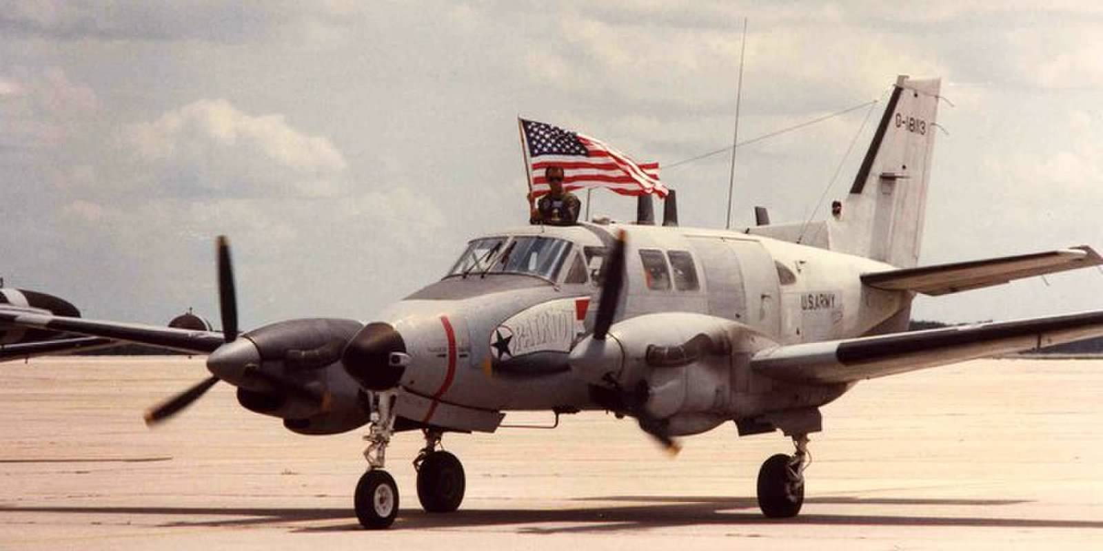 RU-21A 67-18113 as she arrived home in Orlando from the Middle East following her role in the first Gulf War. This is the aircraft which the Memorial has acquired for display. (photo via 138th Aviation Company Memorial)